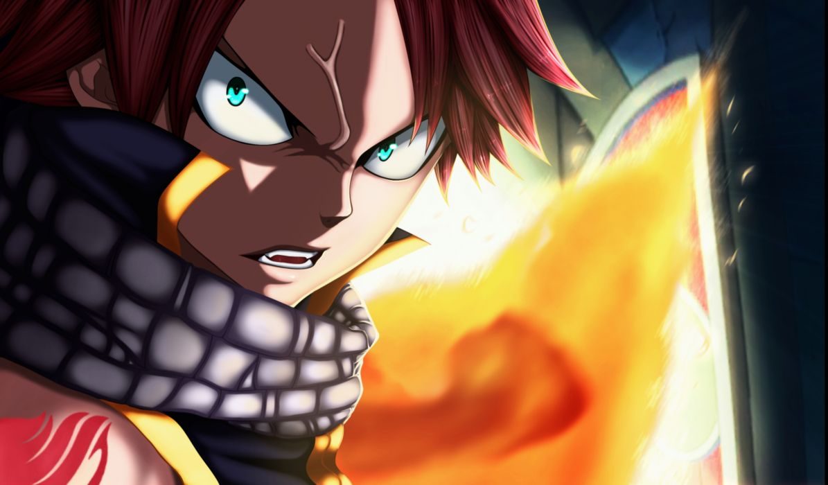 Fairy Tail  art  Natsu  flames  fury wallpaper