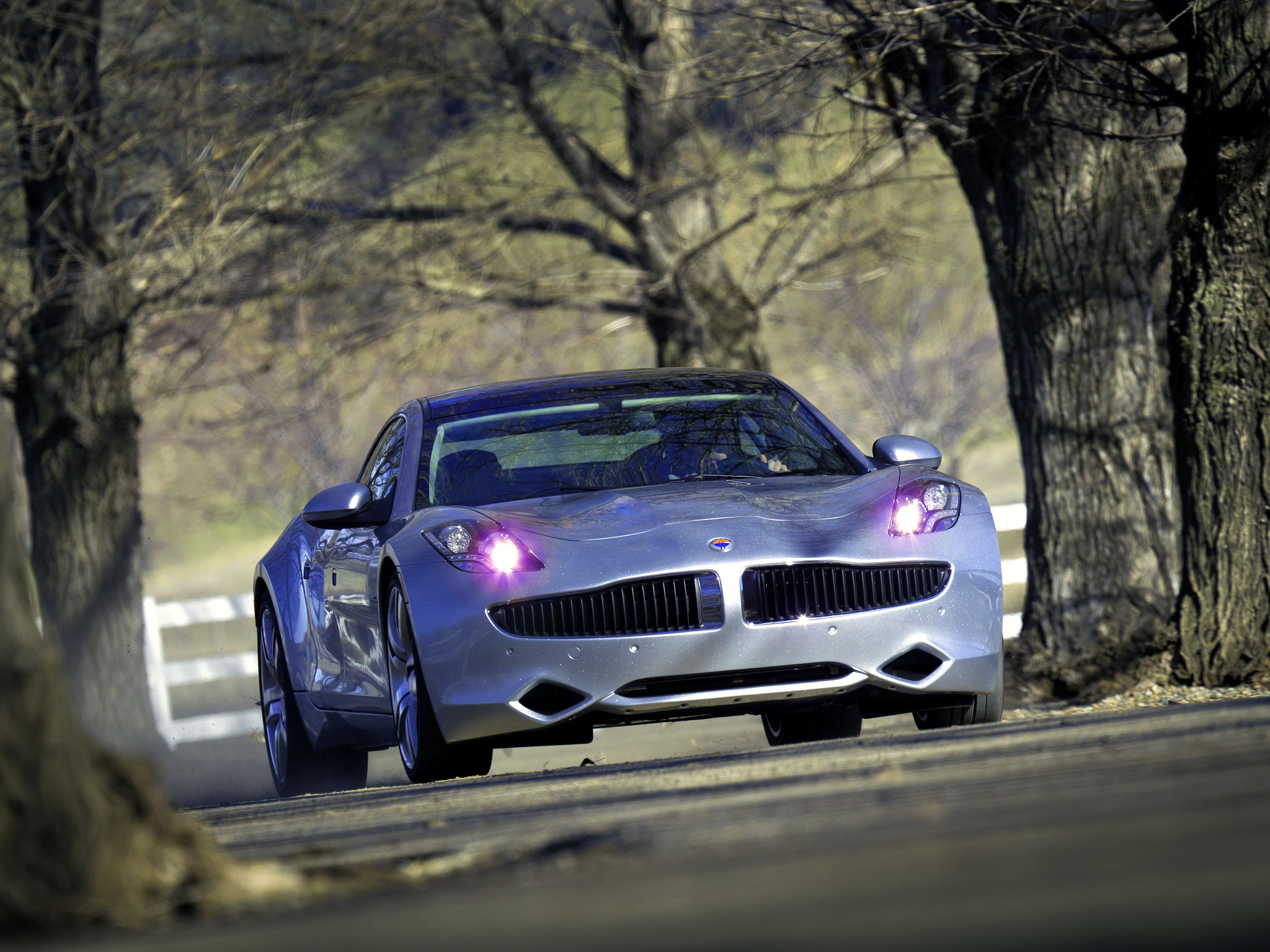 Fisker Karma Ever Cars Lights Road Trees Supercar Supercars