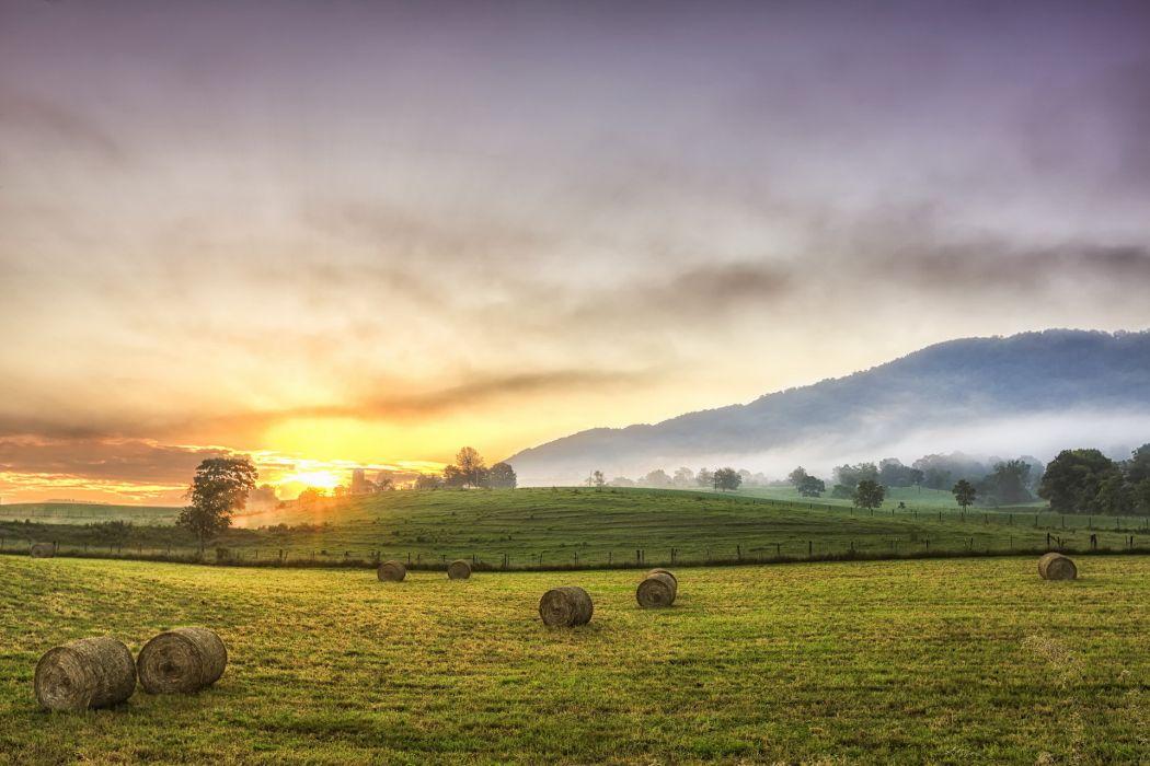 ield  hay  sunset  landscapes fog sunrise sky wallpaper