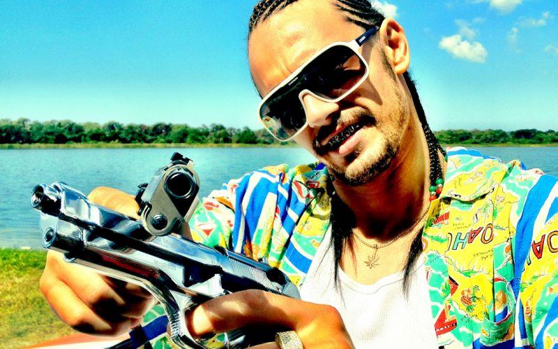 James Franco Spring Breakers Sunglasses Face Handgun weapons guns wallpaper
