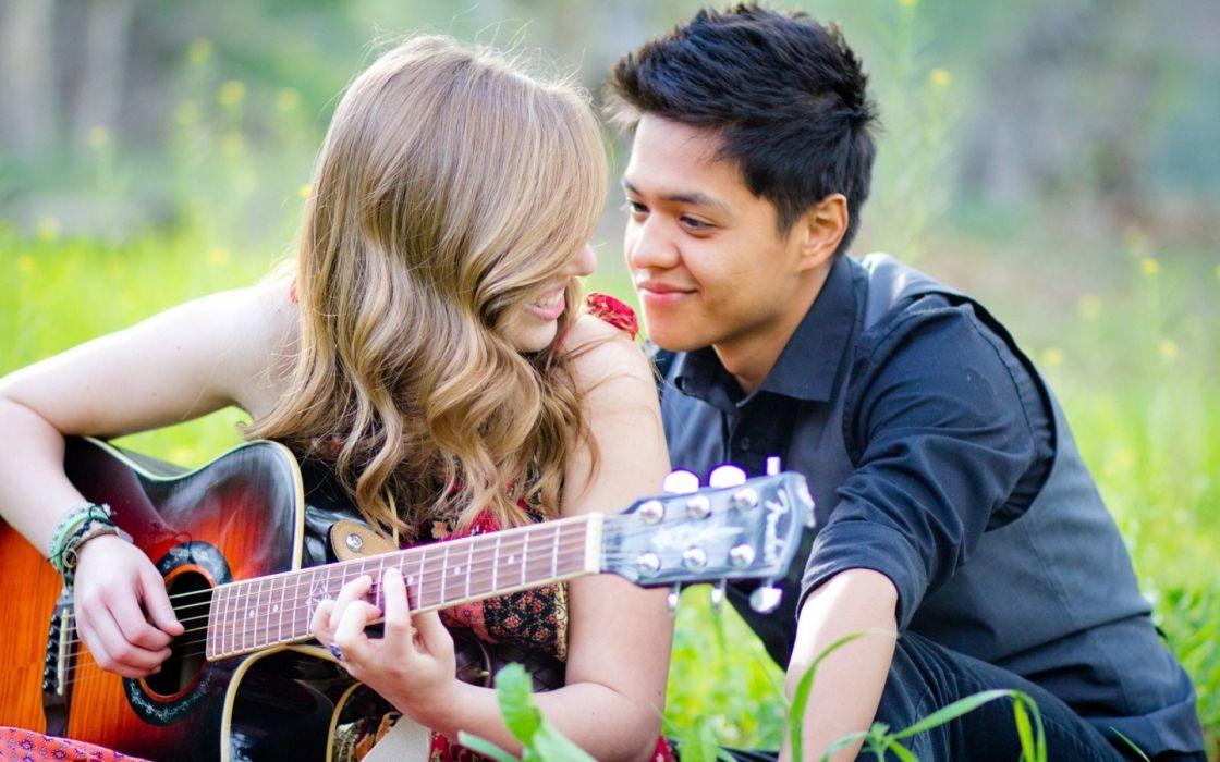 mood guitar girl guy love guitars wallpaper