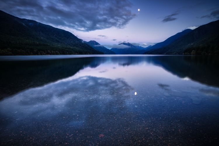 mountain lake water surface night blue lilac sky clouds moon reflection wallpaper