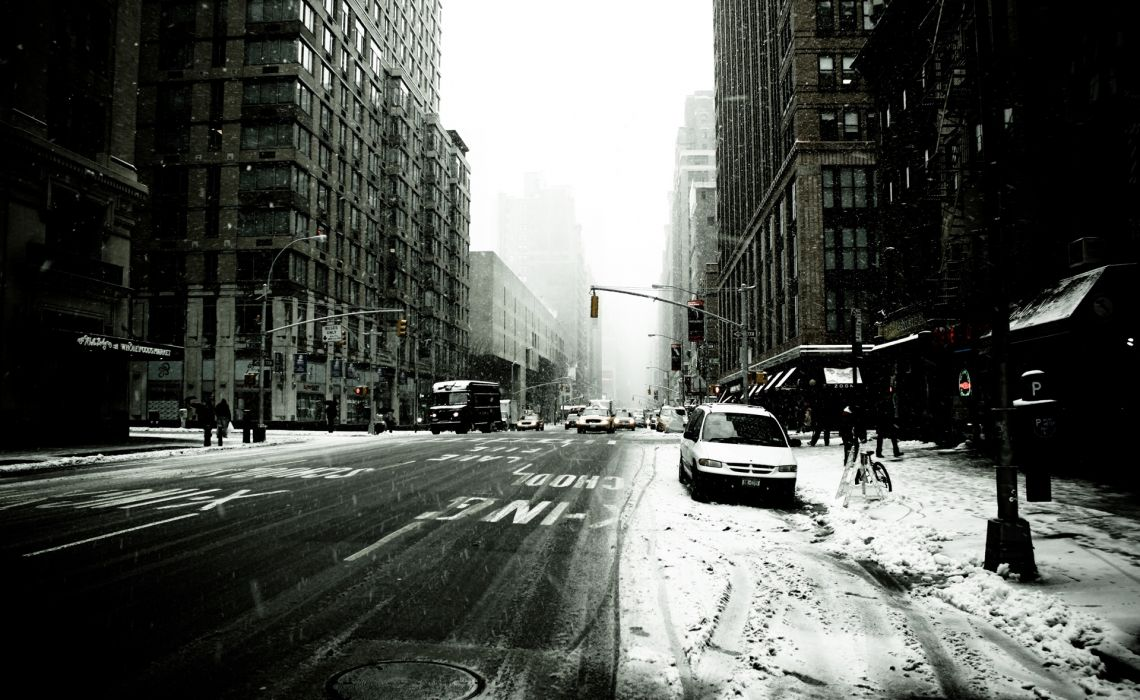 New York new york city america usa states skyscrapers winter blizzard cars people taxis wallpaper