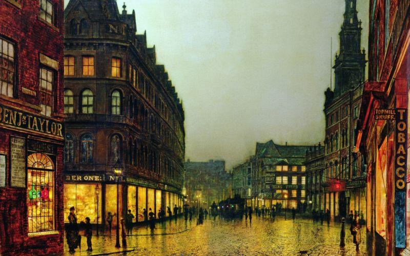 Painting Street Buildings mood rain city cities roads street wallpaper