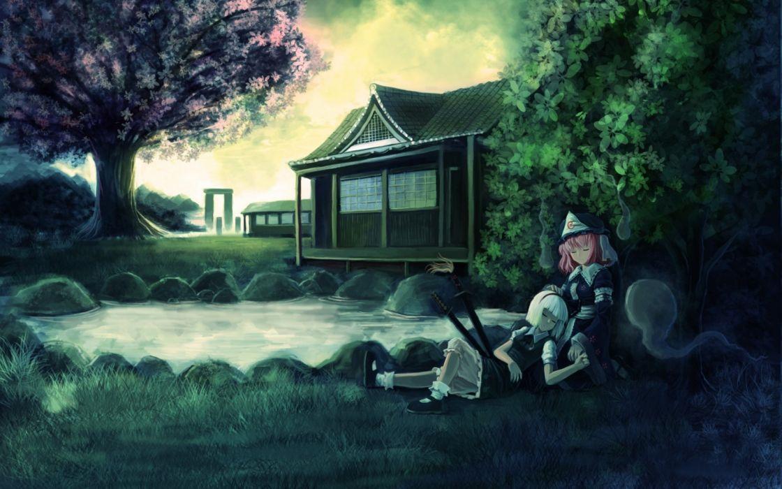 saigyouji yuyuko oto taku konpaku youmu myon touhou wallpaper