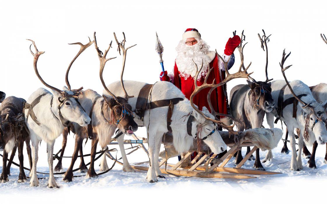 santa claus reindeer sleigh wallpaper - Reindeer And Santa