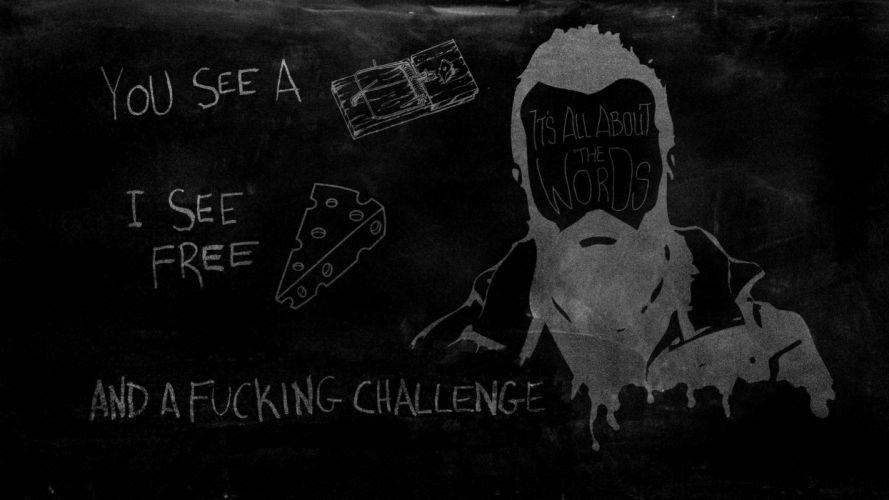 Scroobius Pip Trap Cheese Challange Fuck Black texts wallpaper