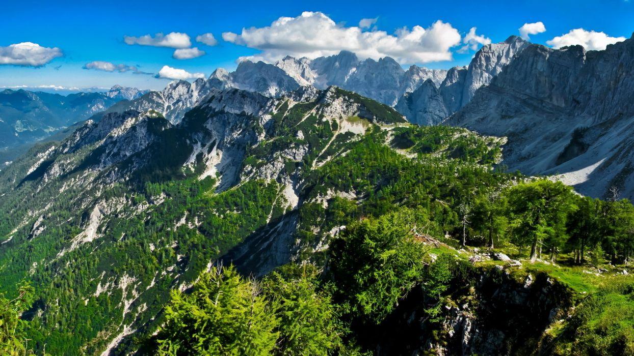 summer mountains snow rocks sky slope hdr wallpaper