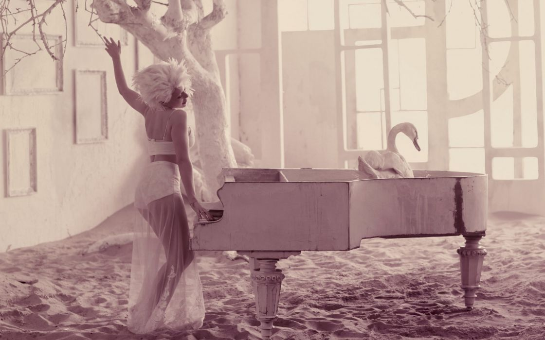 Tina Karol  girl  singer  Standing  Swan  Tree  Sand piano mood wallpaper