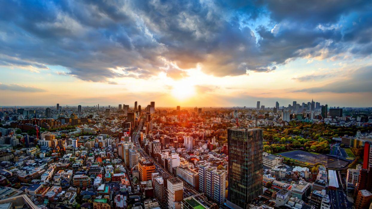 Tokyo Japan panorama buildings road sunset wallpaper