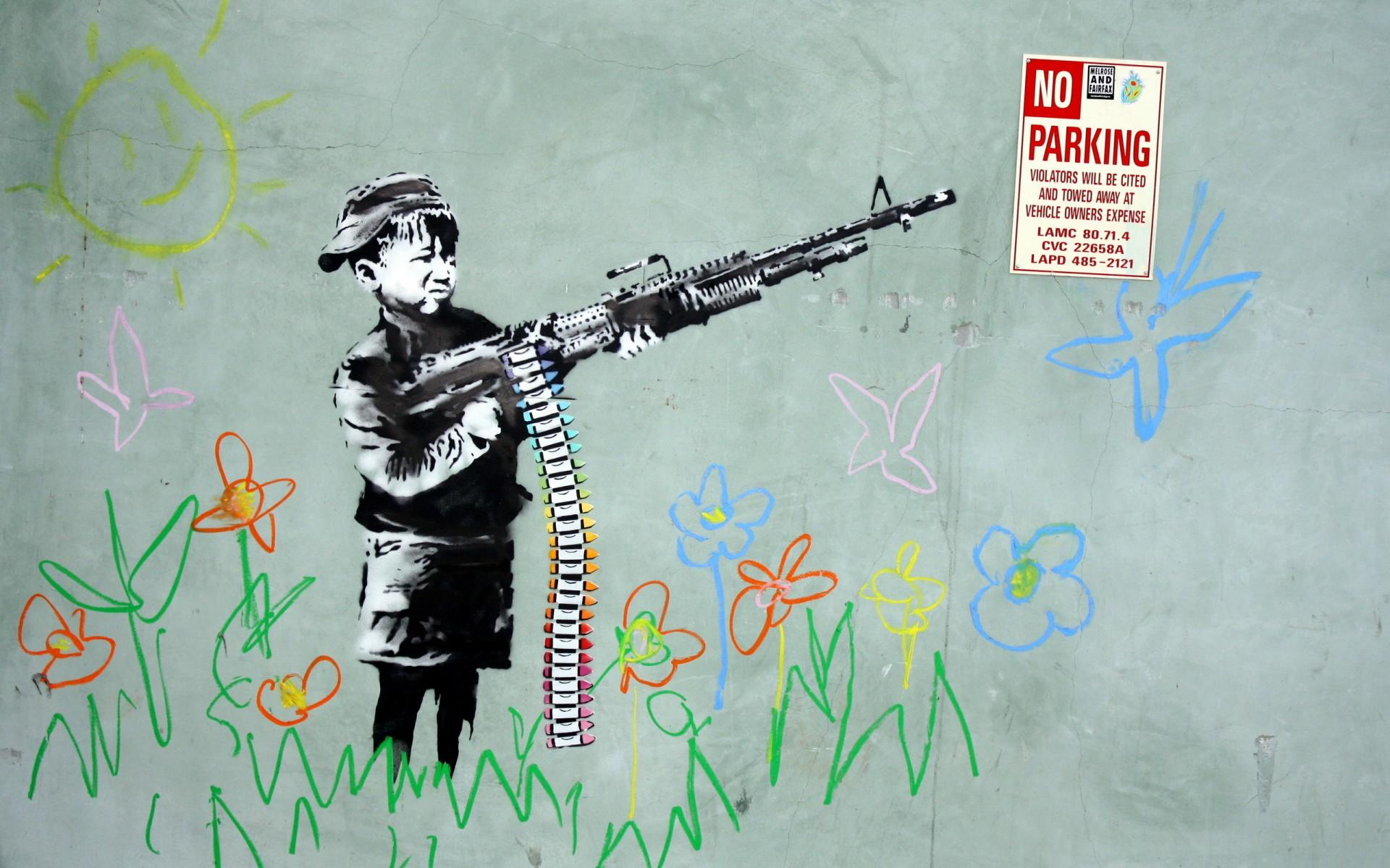 wall drawing boy weapons graffiti flowers anarchy sadic children ...