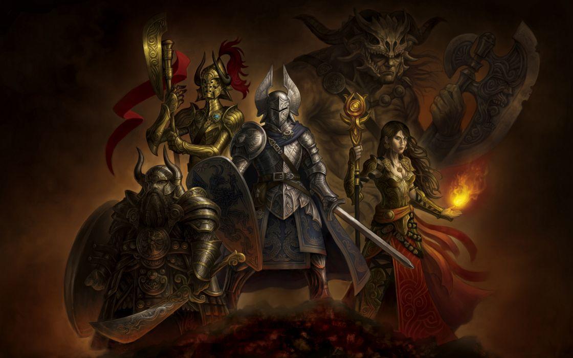 Warriors Armor Helmet Swords Fantasy Warrior wallpaper