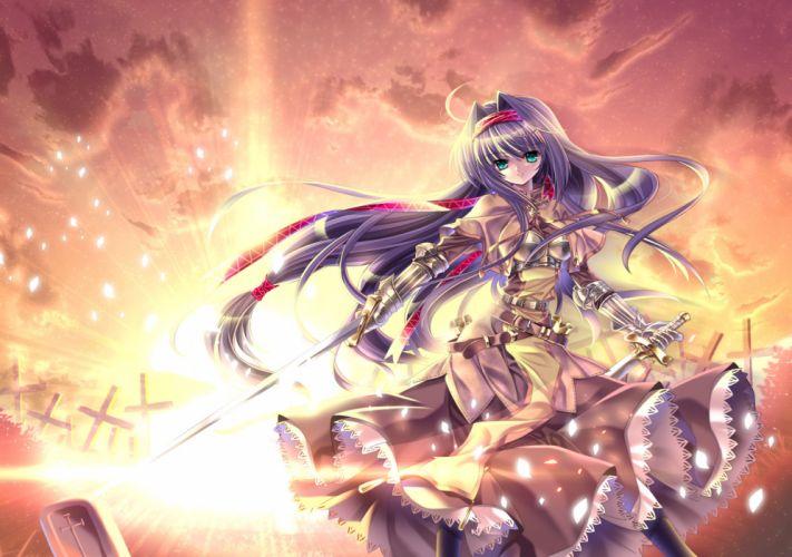 armor capura lin lolita fashion purple hair ragnarok online sword weapon wallpaper