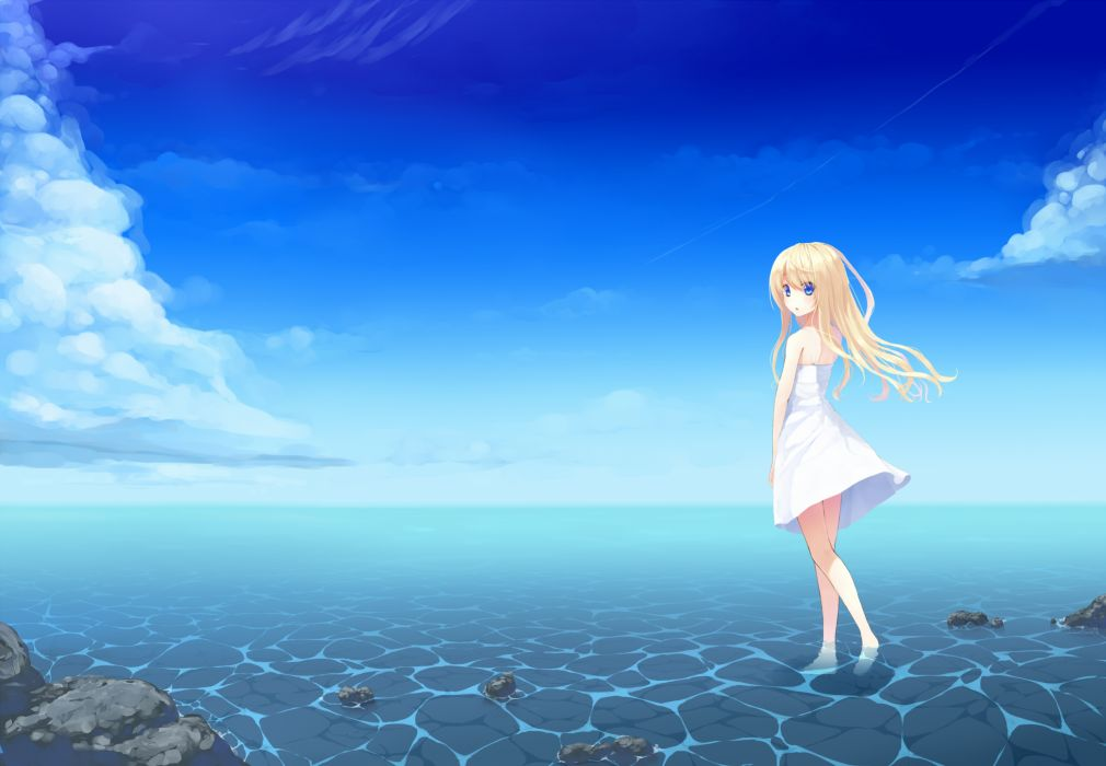Blonde Hair Blue Eyes Clouds Dress Original Sky Uttt Water