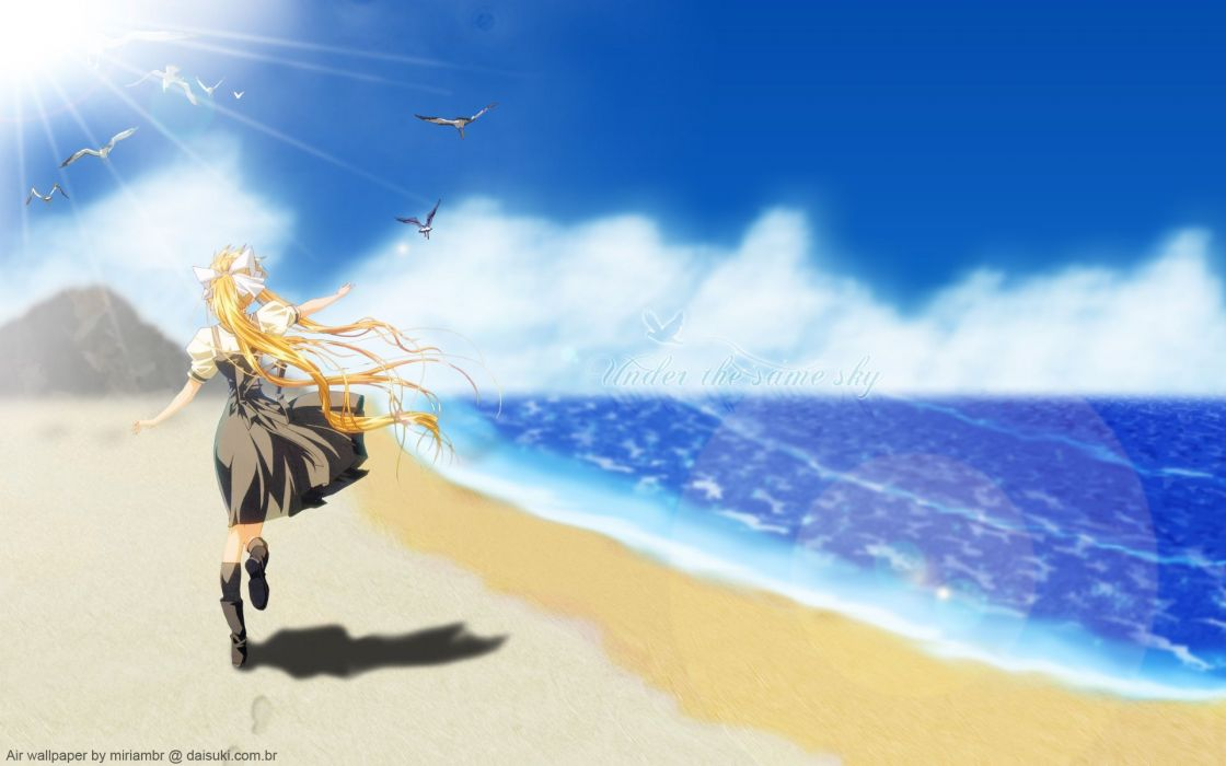 air animal beach bird blonde hair kamio misuzu long hair seifuku wallpaper