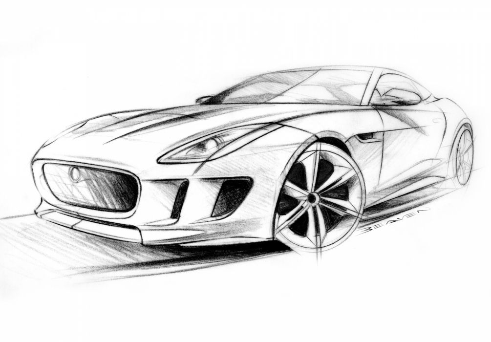 2011 jaguar c x16 concept supercar supercars drawing sketch pencil art wallpaper