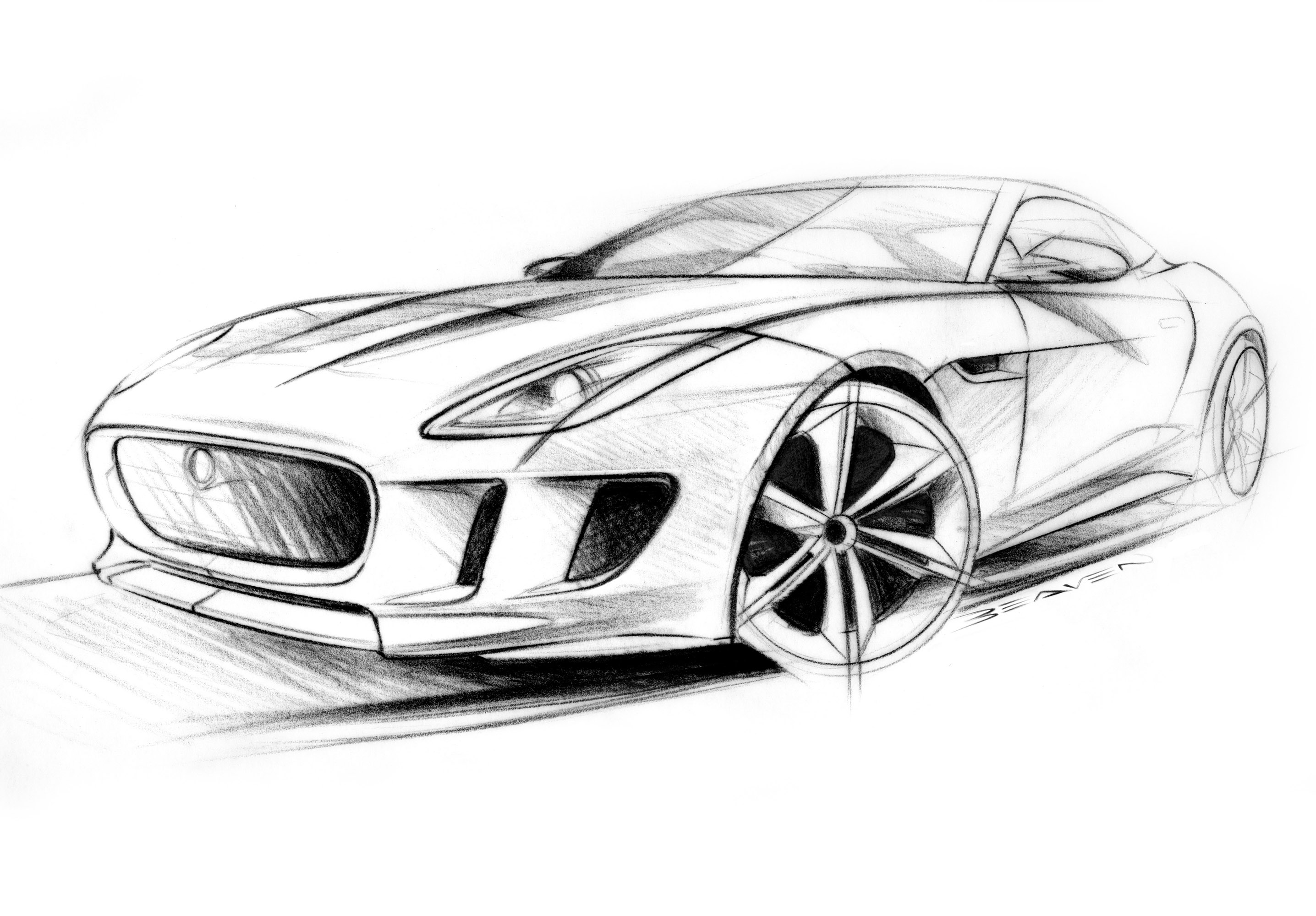Jaguar C Concept Supercar Supercars Drawing Sketch Pencil