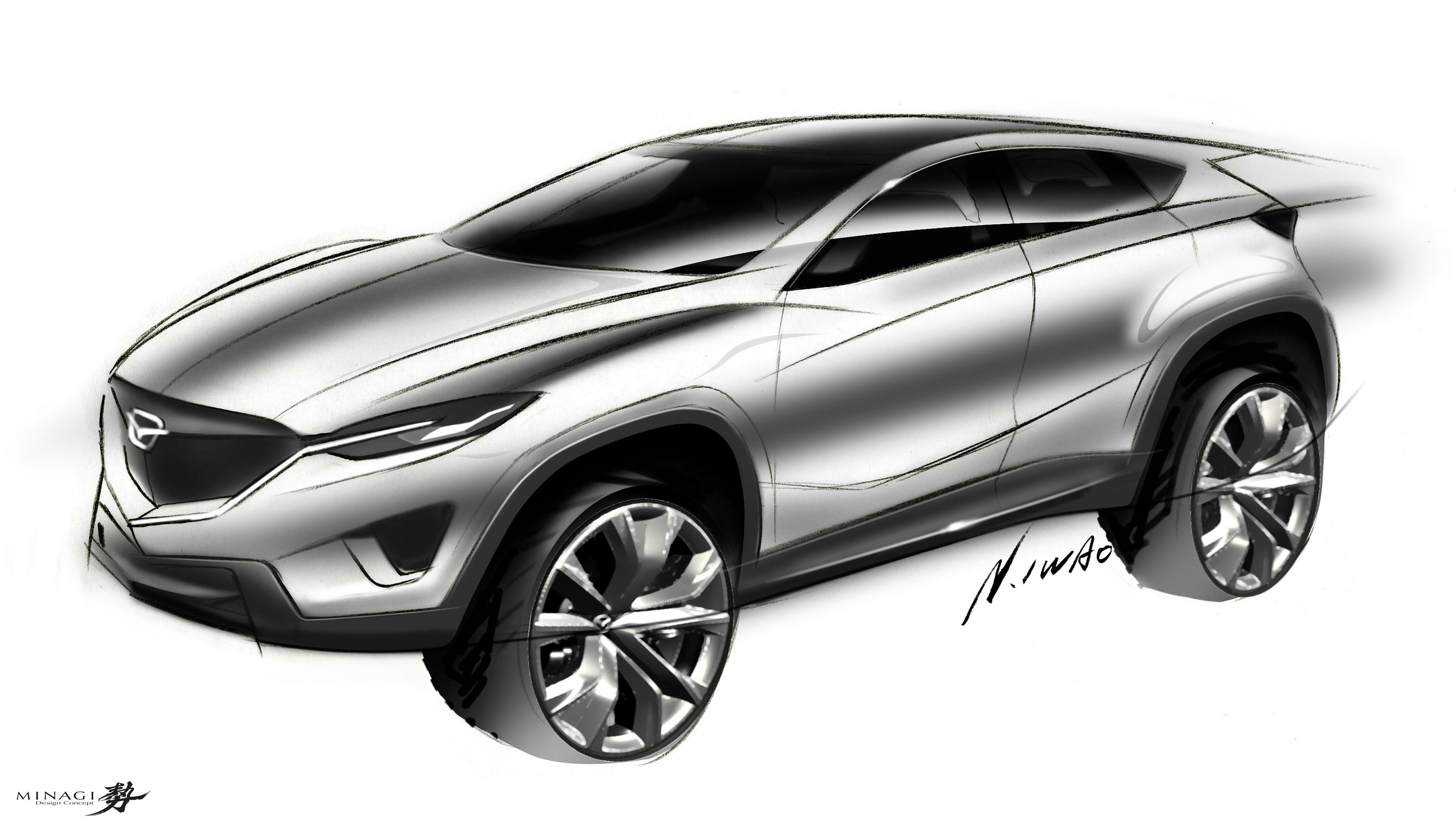 Mazda Minagi Concept Suv Art Drawing Sketch J Wallpaper
