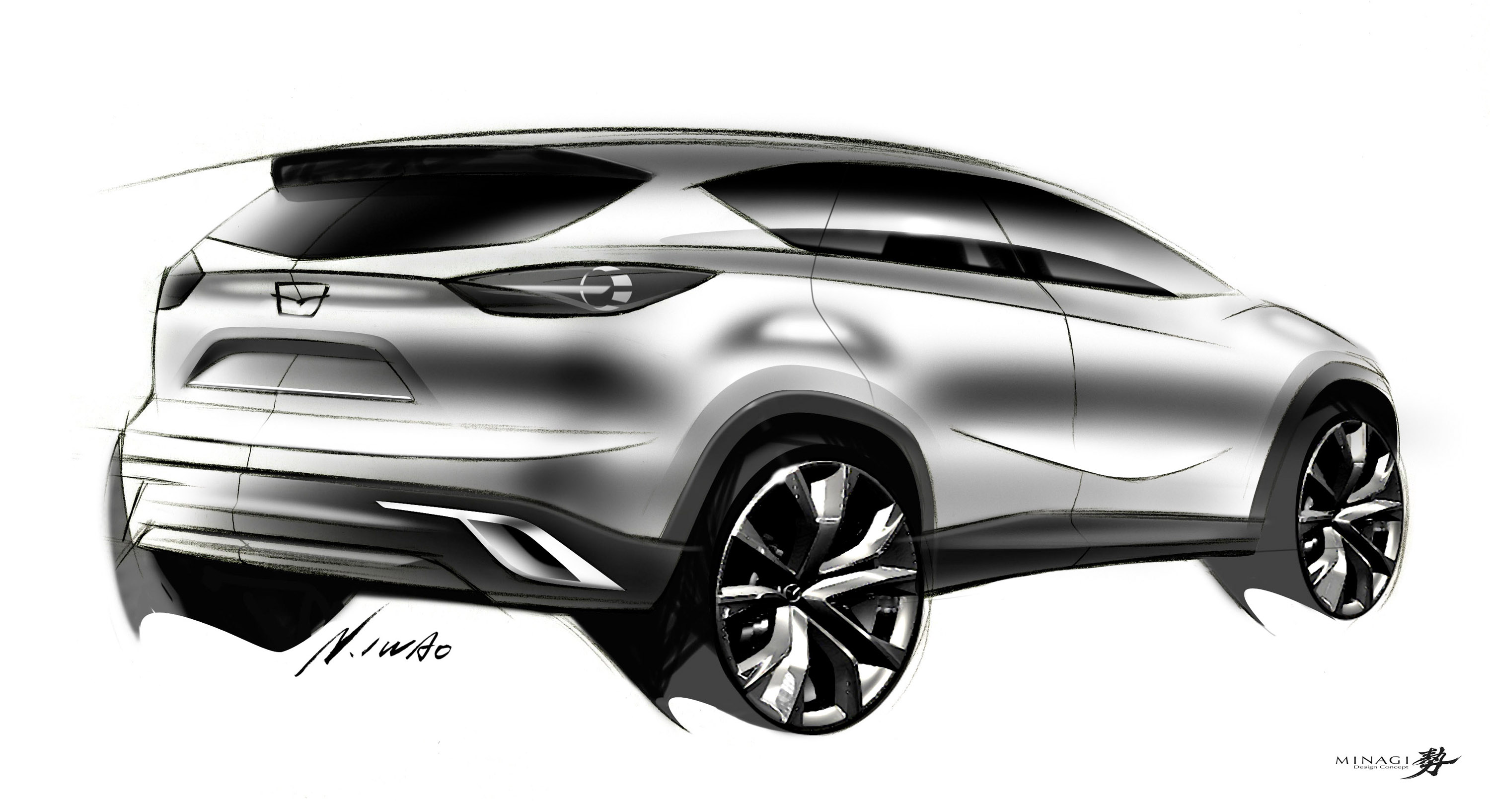 Mazda Minagi Concept Suv Art Drawing Sketch L Wallpaper