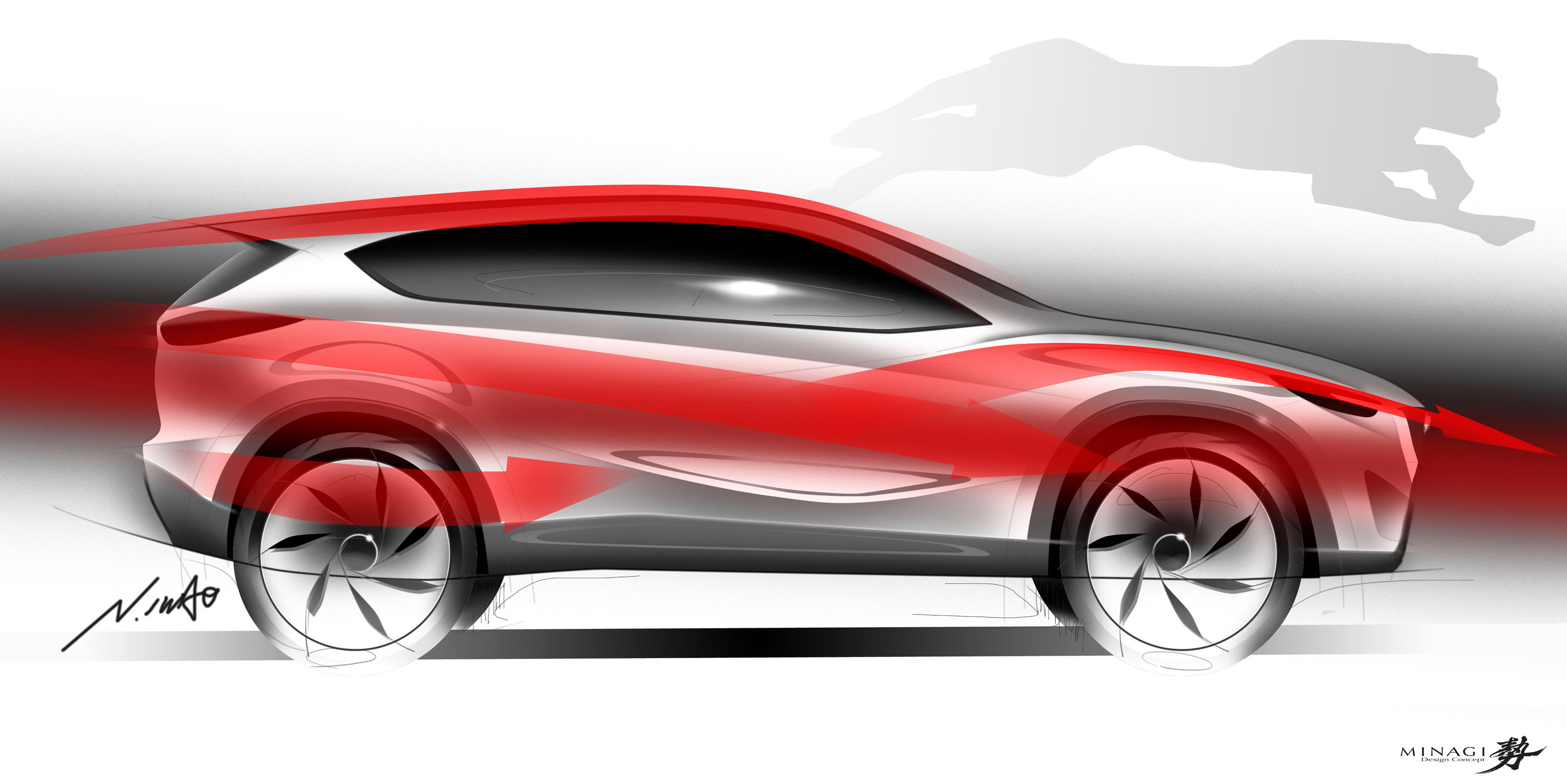 Mazda Minagi Concept Suv Art Drawing Sketch Wallpaper