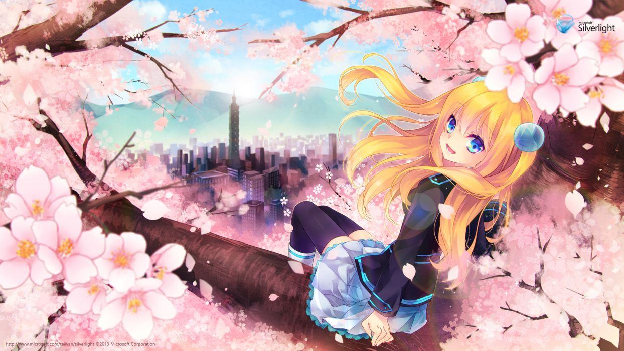 aizawa hikaru blonde hair blue eyes boots cherry blossoms city clouds flowers long hair microsoft os-tan petals seifuku skirt sky thighhighs tree wallpaper
