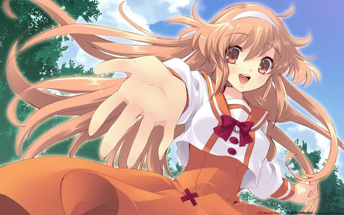 alice parade brown eyes brown hair clouds headband hitorimeno alice itou noiji long hair sky tree wallpaper