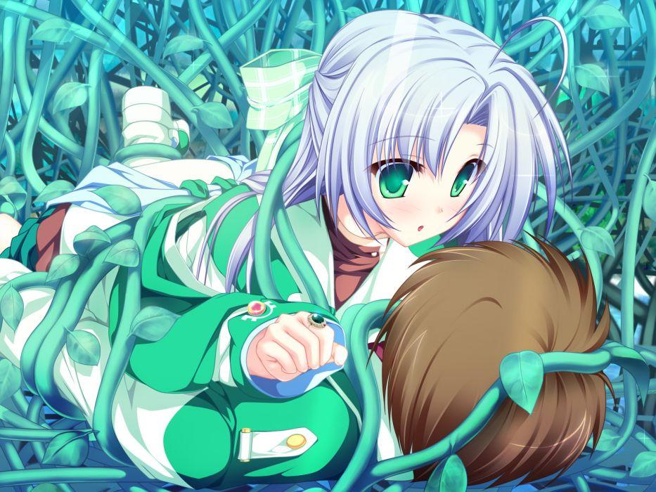 alicia infans blue hair bow game cg green eyes long hair magus tale purple hair seifuku tenmaso wallpaper