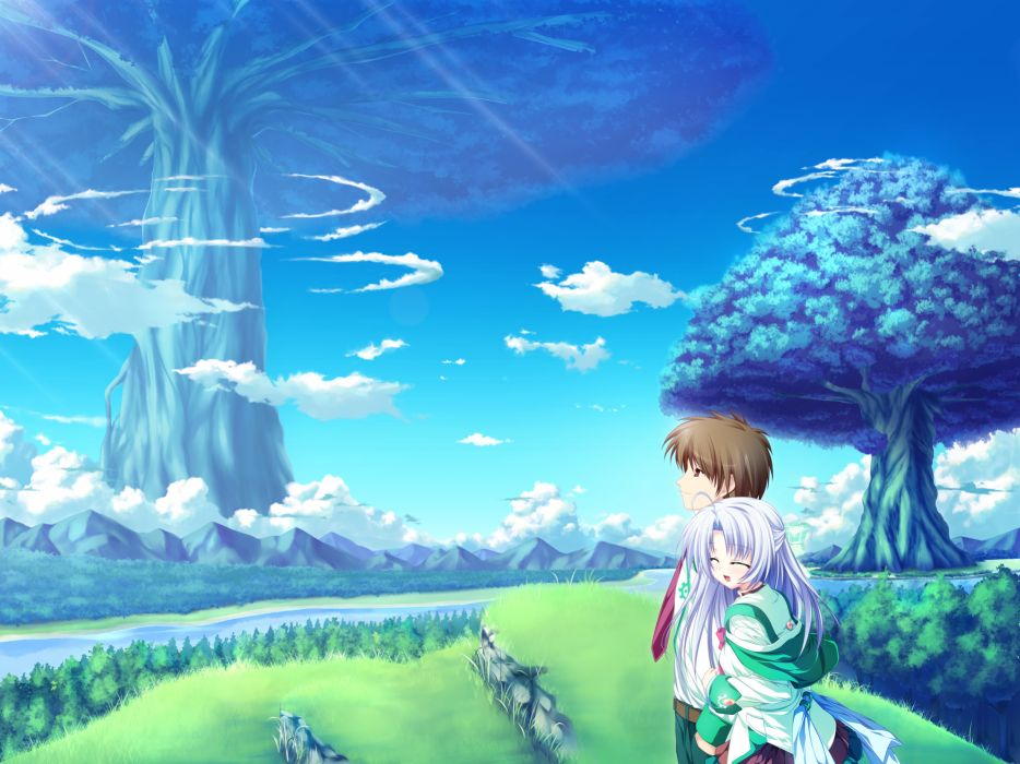 alicia infans blue hair clouds game cg grass magus tale seifuku sky tenmaso tree wallpaper