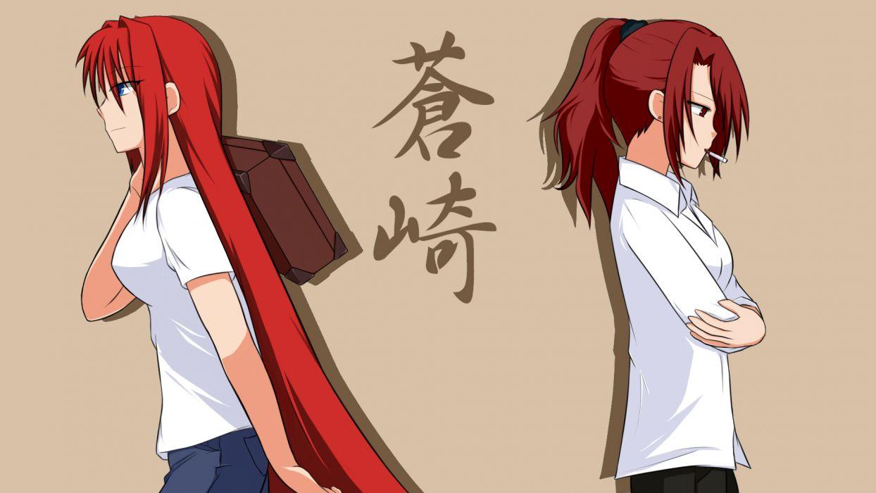 aozaki aoko aozaki touko blue eyes crossover kara no kyoukai long hair ponytail red eyes red hair shingetsutan tsukihime wallpaper