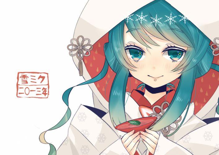 aqua eyes aqua hair close hatsune miku japanese clothes nijita18 vocaloid yuki miku wallpaper