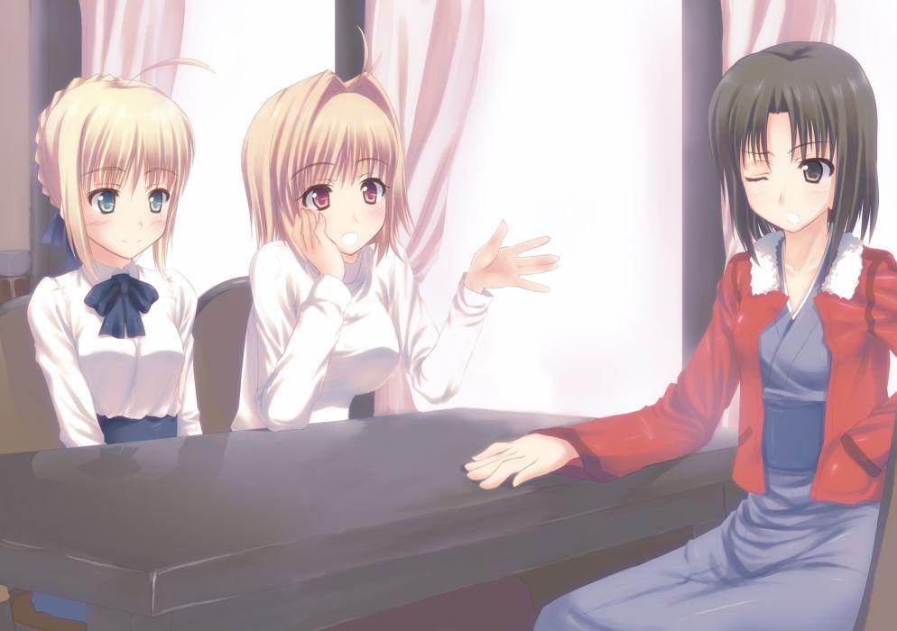 arcueid brunestud fate stay night kara no kyoukai ryougi shiki saber shingetsutan tsukihime wallpaper