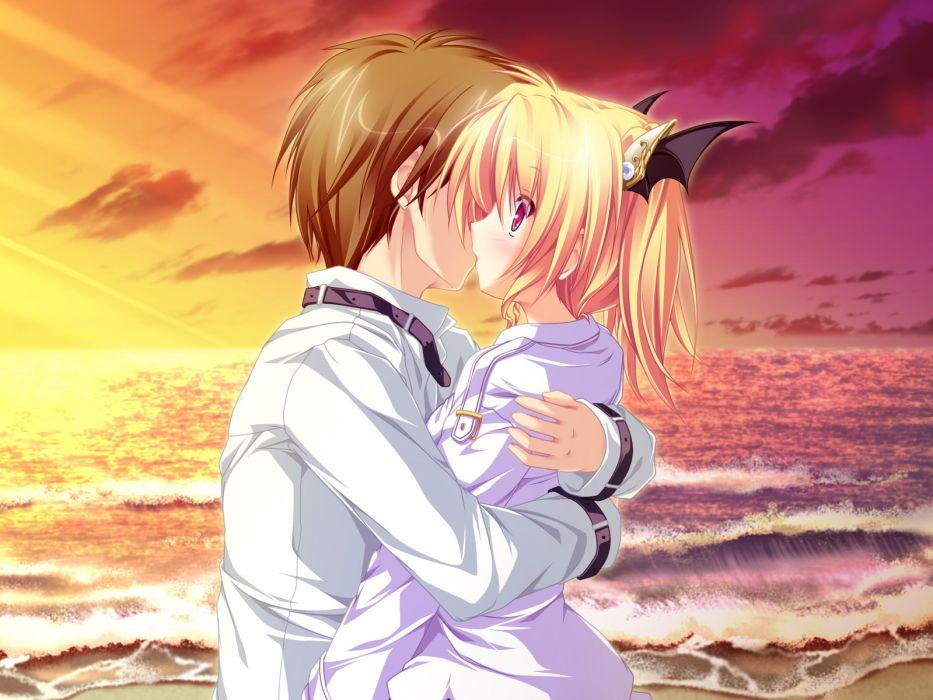 beach blonde hair blush clouds game cg hug kiss magus tale nina geminis red eyes seifuku sky tenmaso mood wallpaper