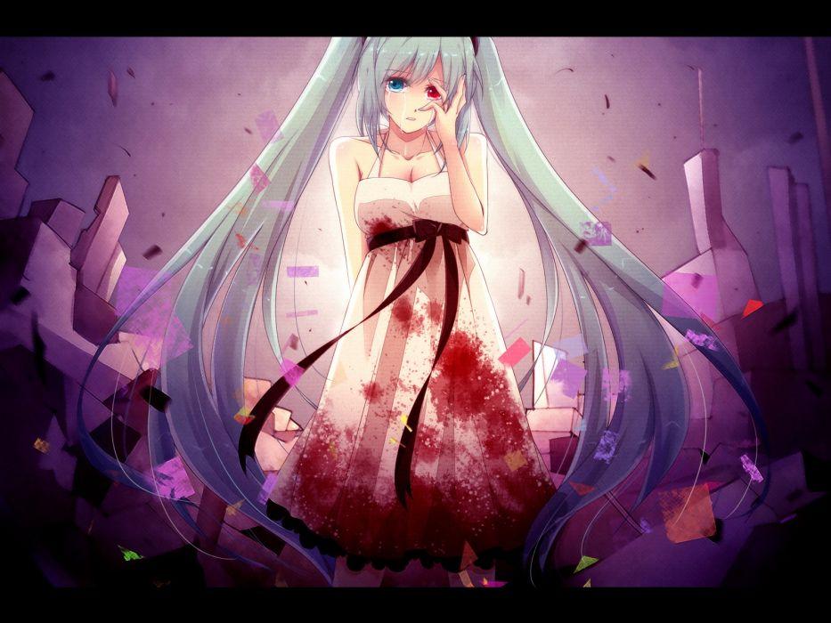 bicolored eyes blood dress hatsune miku izayoi kura tears vocaloid wallpaper