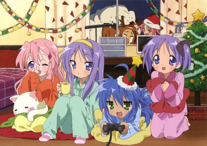 christmas hiiragi kagami hiiragi tsukasa izumi konata kogami akira lucky star pajamas scan shiraishi minoru takara miyuki wallpaper