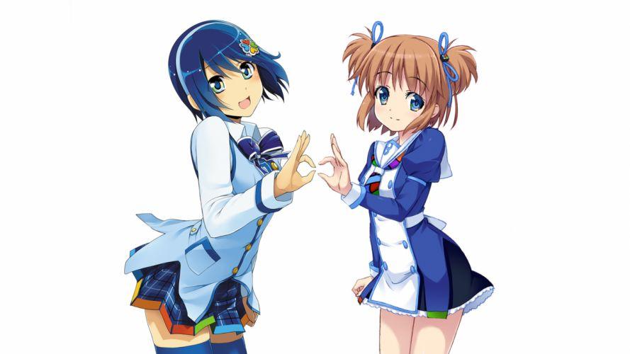 girls 7 blue eyes blue hair brown hair madobe nanami madobe yuu os-tan skirt windows wallpaper