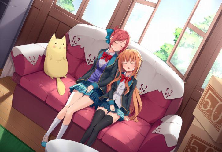 girls amatsuka mao amatsuka megumi gj bu kneehighs sleeping thighhighs yaguo wallpaper