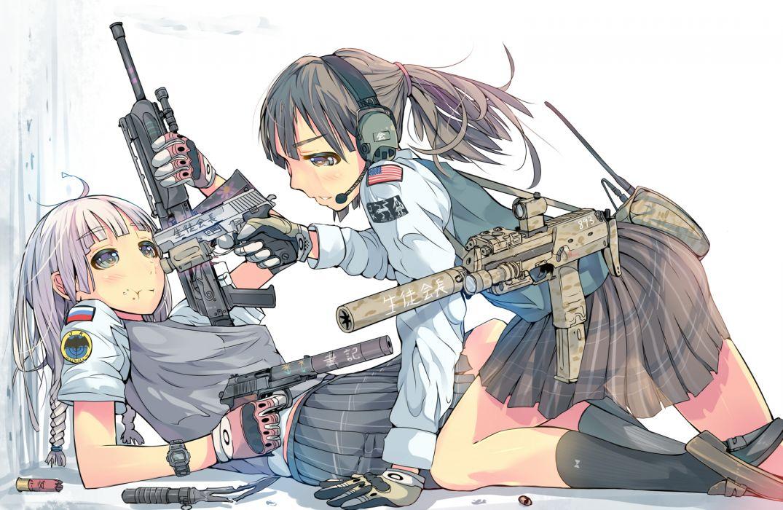 girls daito gun headphones original seifuku weapon wallpaper