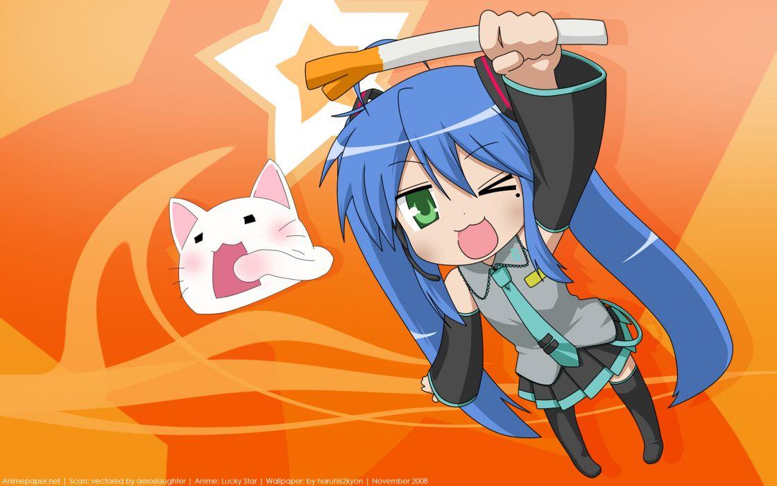 hatsune miku izumi konata lucky star parody vocaloid wallpaper