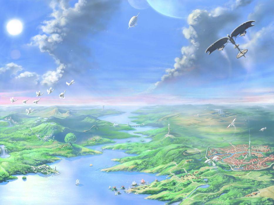 flying fantasy art cities wallpaper
