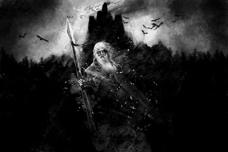 black and white fantasy art Odin mythology gods wallpaper