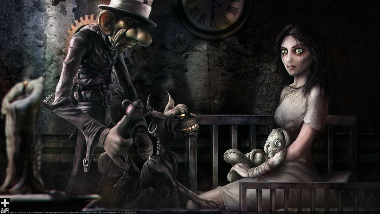 Clocks Alice Wonderland Drawings Fan Art American Mcgees Alice