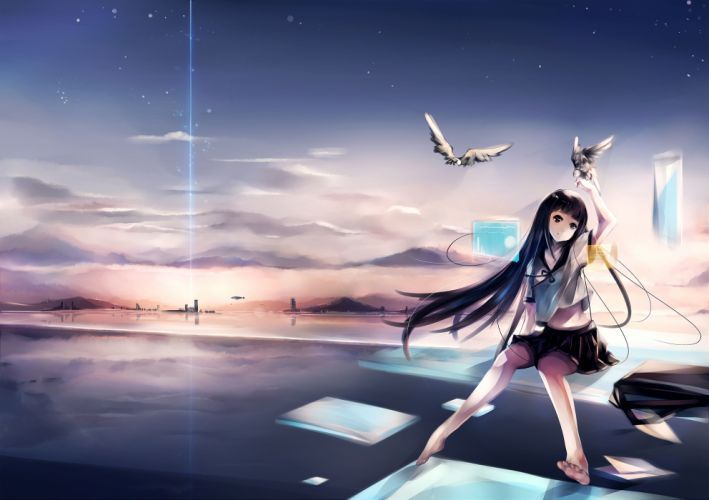 aircraft animal barefoot bird clouds original oyeung paper seifuku sky stars wallpaper