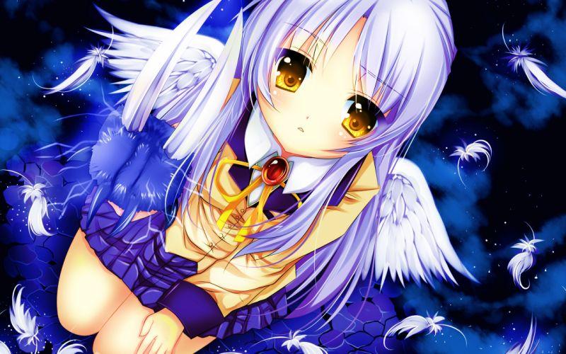 angel angel beats! tachibana kanade wings yellow eyes wallpaper