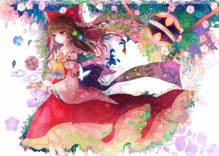 animal brown hair butterfly fish flowers hakurei reimu kazu (muchuukai) leaves purple eyes touhou wallpaper