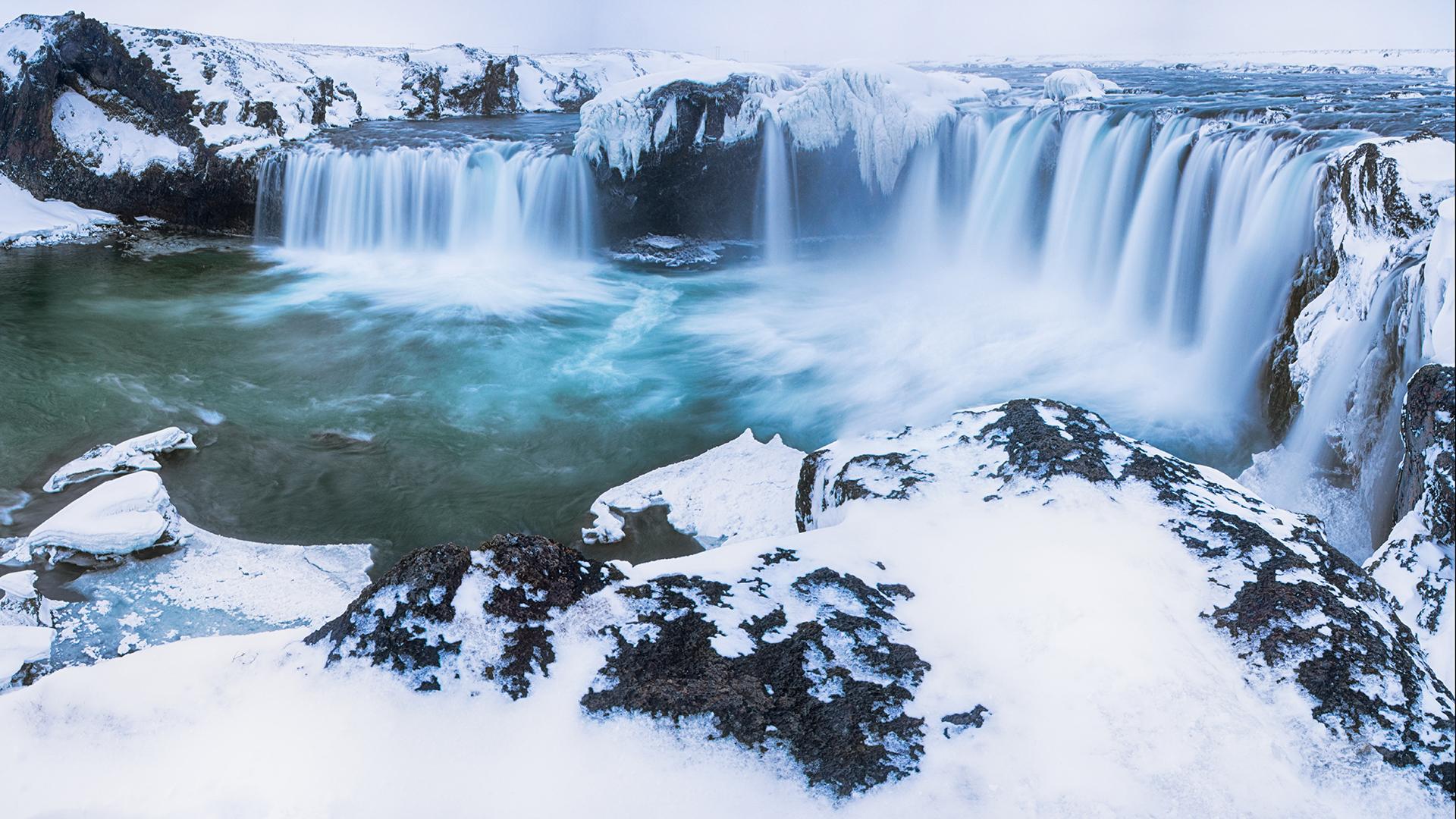 обои для рабочего стола зима водопады № 467080  скачать