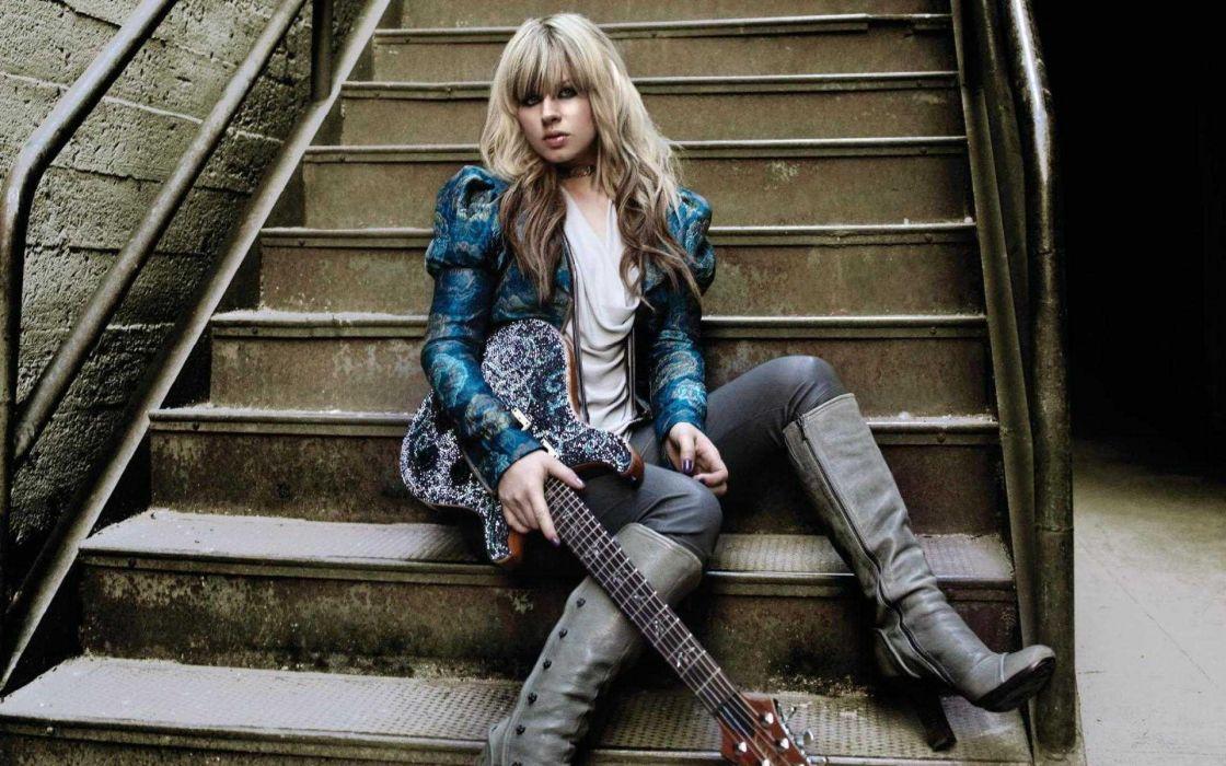 Orianthi Panagaris guitarist rock women females girl girls musician pop blonde blondes guitar guitars  n wallpaper