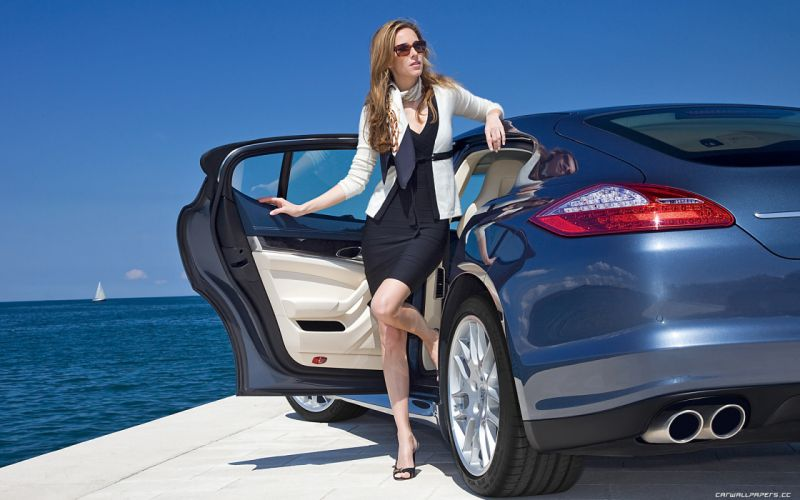 Woman with Car wallpaper