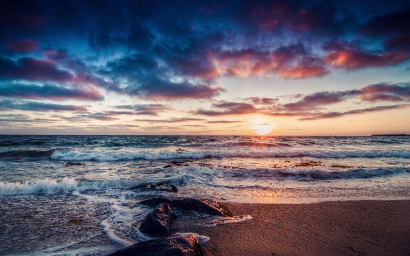 beach shore ocean sea sky clouds sunset waves wallpaper