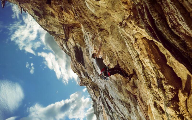 sport climb climbing men cliff mountains wallpaper