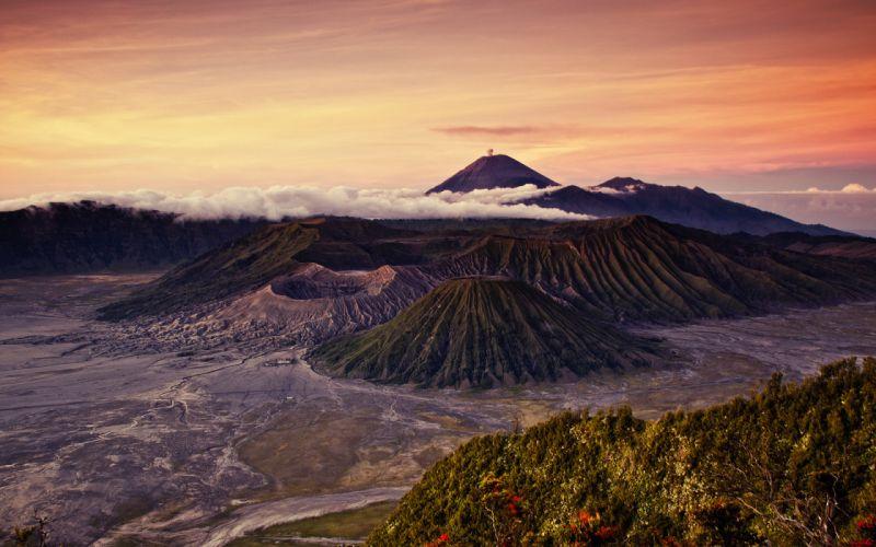volcano volcanos mountains landscapes sunset wallpaper